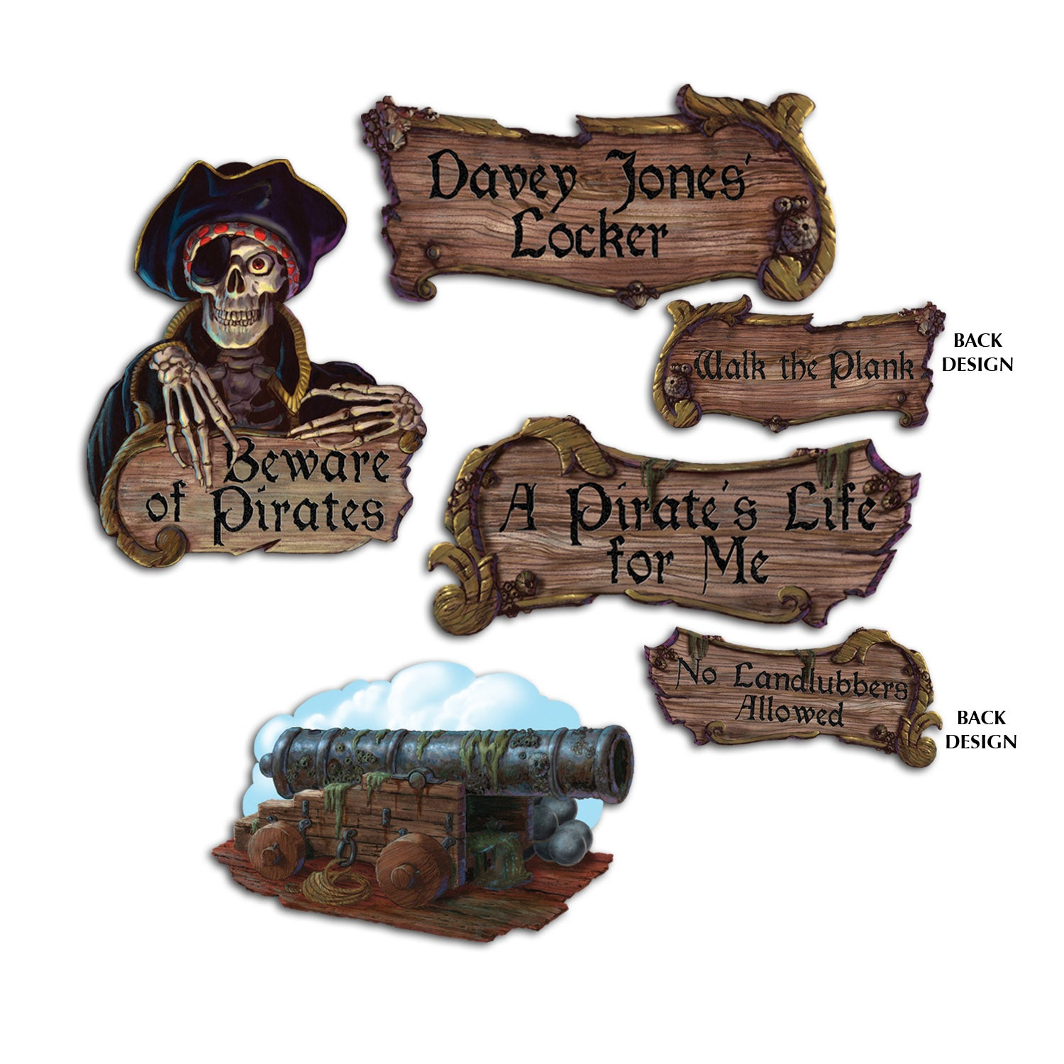 Pirate Cardboard Cutouts 4pk - Party Savers