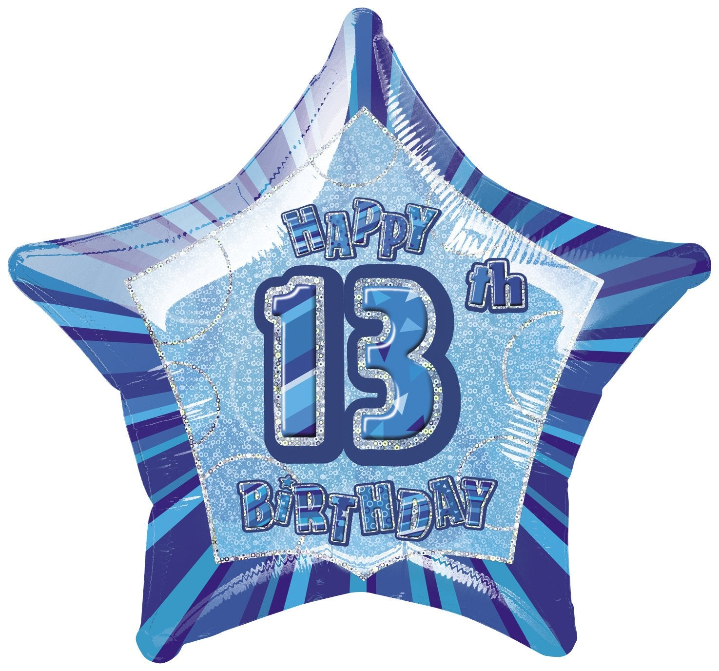 Blue Glitz 13th Birthday Star Foil Balloon 50cm