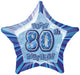 Blue Glitz 80th Birthday Star Foil Balloon 50cm