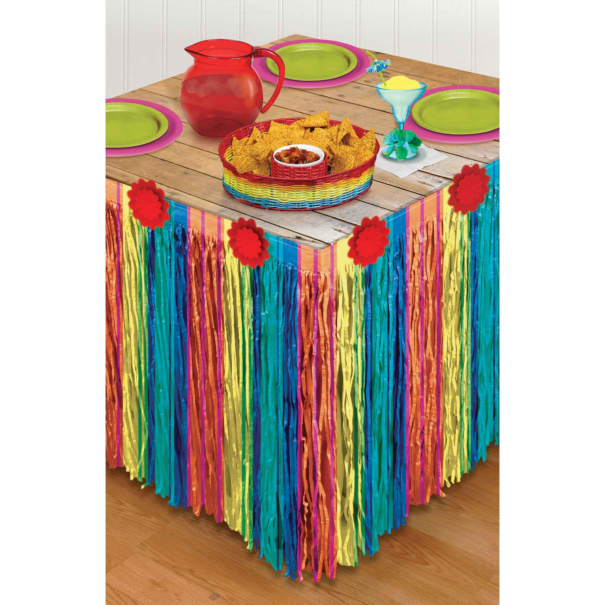 Fiesta Striped Paper Table Skirt - Party Savers
