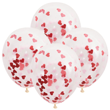 Clear Balloons With Red Heart Confetti 40cm 5pk