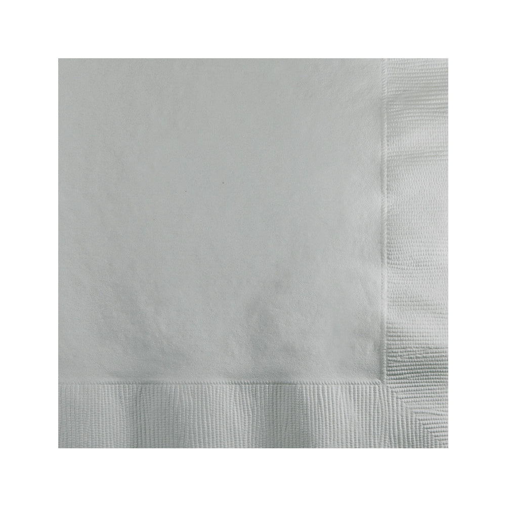 Silver Beverage Napkins 25cm x 25cm 20pk - Party Savers