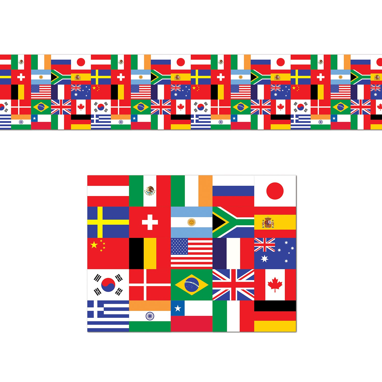 International Flag Poly Decorating Material 45cm x7.6m - Party Savers