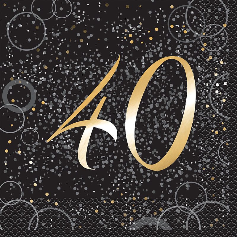 Silver Glitz 40th Birthday Lunch Napkins 16pk