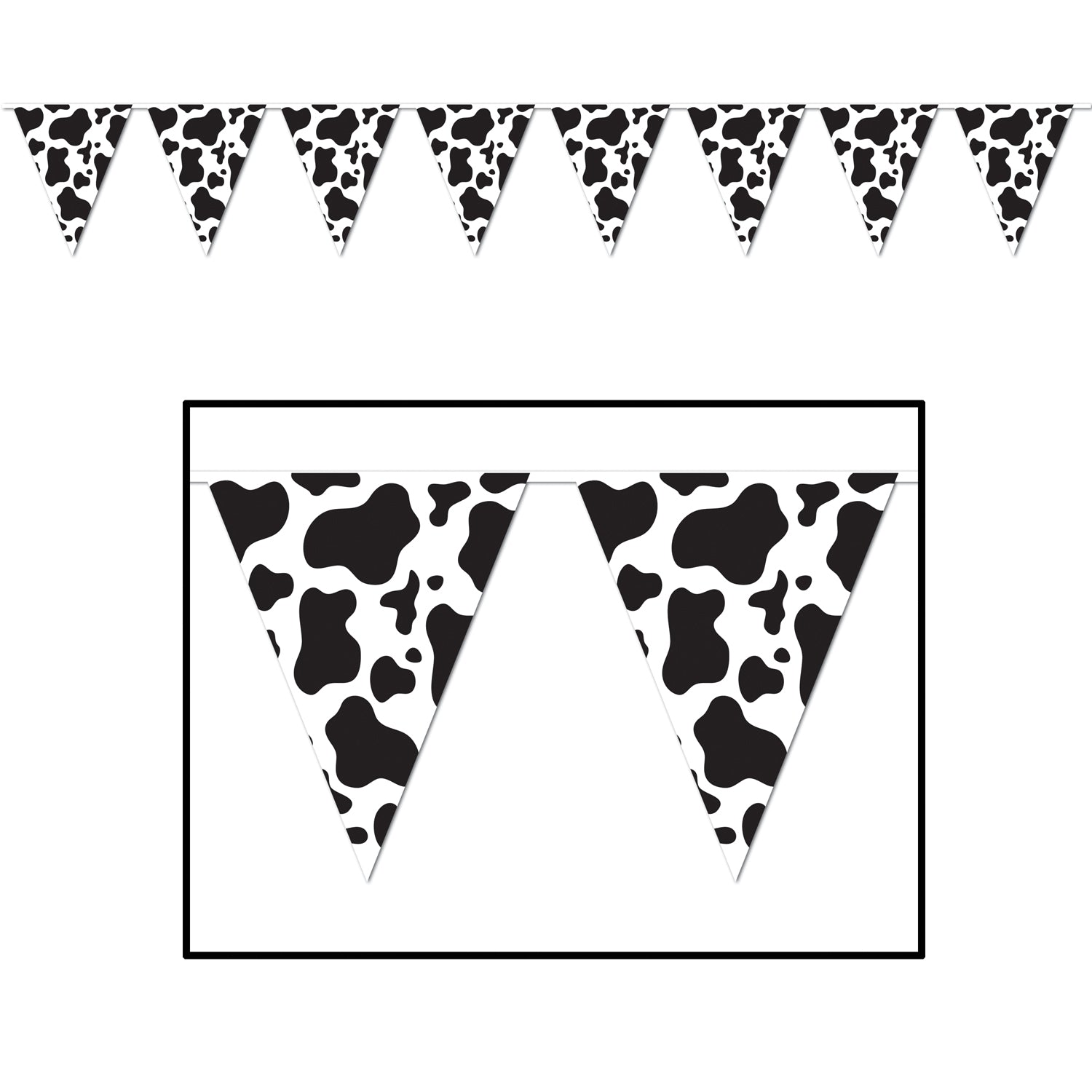 Cow Print Pennant Banner 28cm x 3.65m - Party Savers