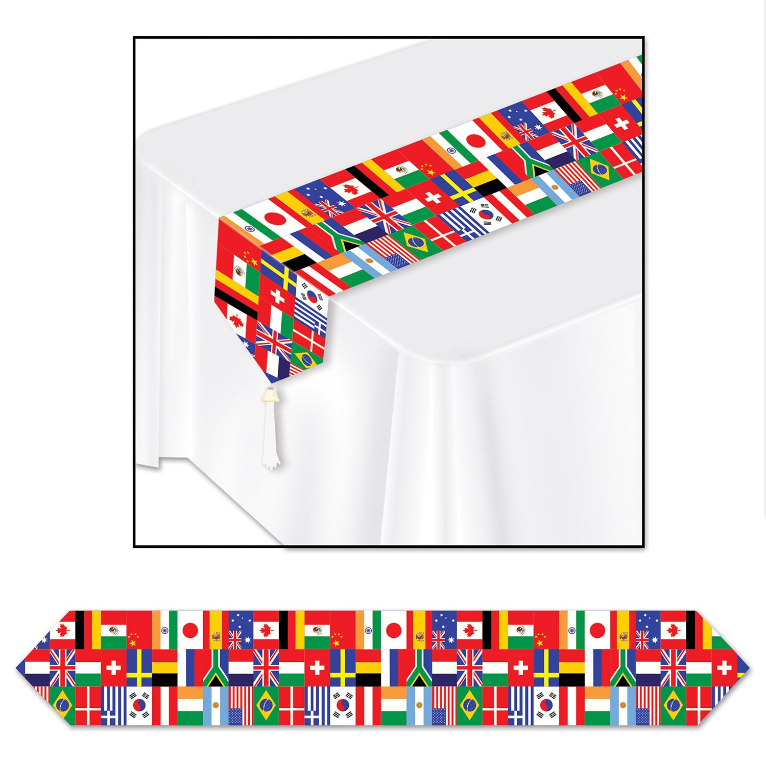 Printed International Flag Table Runner 28cm x 182cm - Party Savers