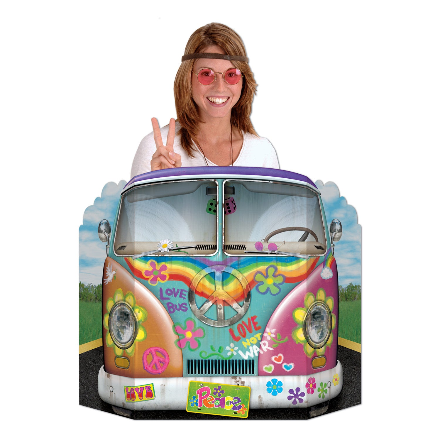 Hippie Bus Photo Prop 94cm x 63cm - Party Savers