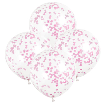 Clear Balloons With Bright Pink Confetti 30cm 6pk