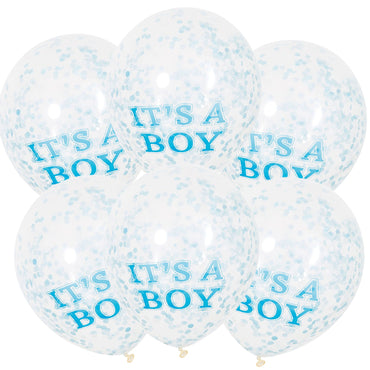 It's A Boy Clear Balloons With Blue Confetti 30cm 6pk - Party Savers