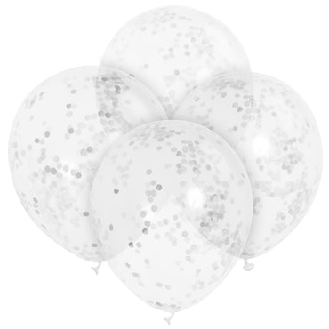 Clear Balloons With Silver Confetti 30cm 6pk