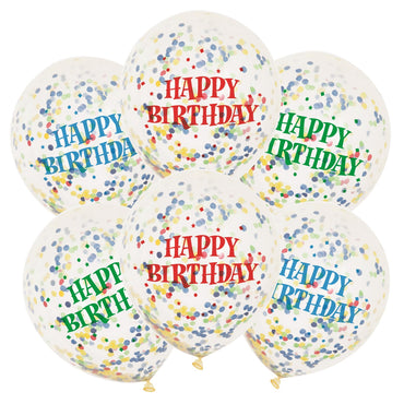 Happy Birthday Clear Balloons With Bright Confetti 30cm 6pk