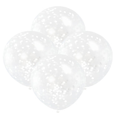 Clear Balloons With White Confetti 30cm 6pk - Party Savers