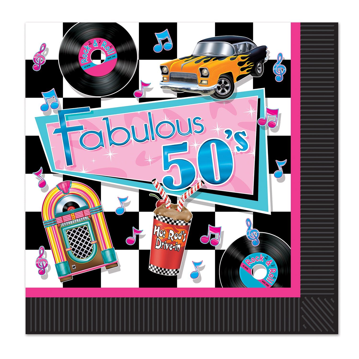Fabulous 50's Luncheon Napkins 33cm 16pk - Party Savers