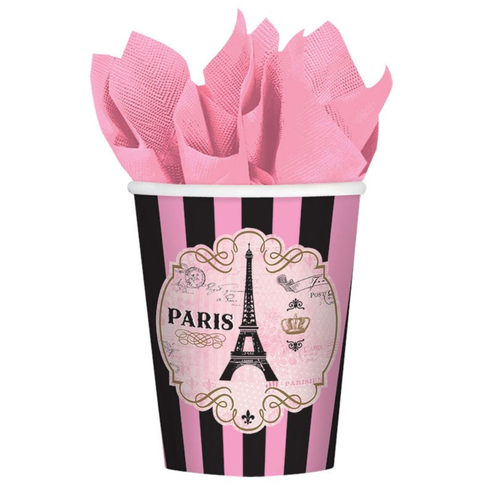Day in Paris Paper Cups 266ml 8pk - Party Savers