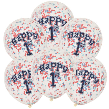 Nautical 1st Birthday Clear Balloons With Confetti 30cm 6pk