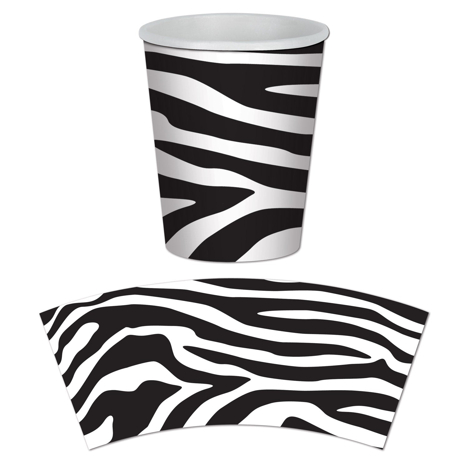 Zebra Print Beverage Cups 266ml 8pk - Party Savers