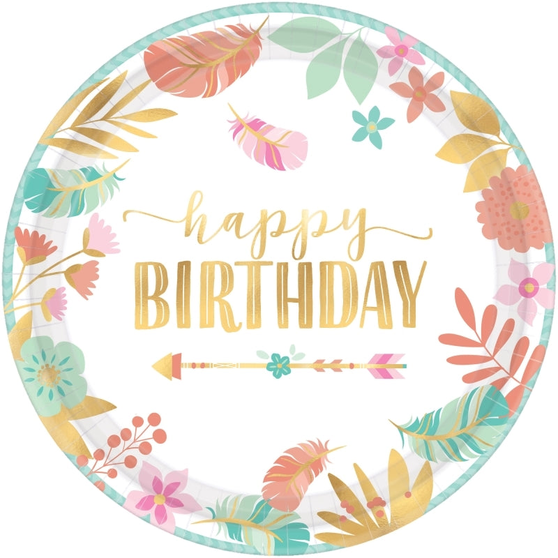 Boho Birthday Girl Round Metallic Plates 26cm  8pk - Party Savers
