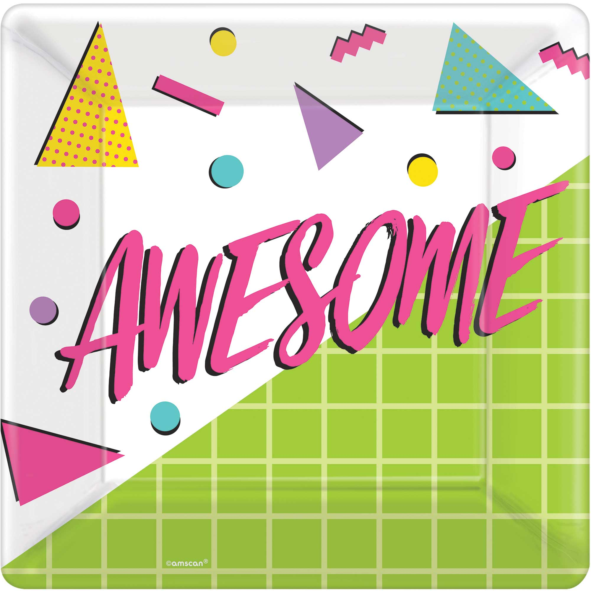 Awesome Party 80's Square Plates 25cm 8pk - Party Savers