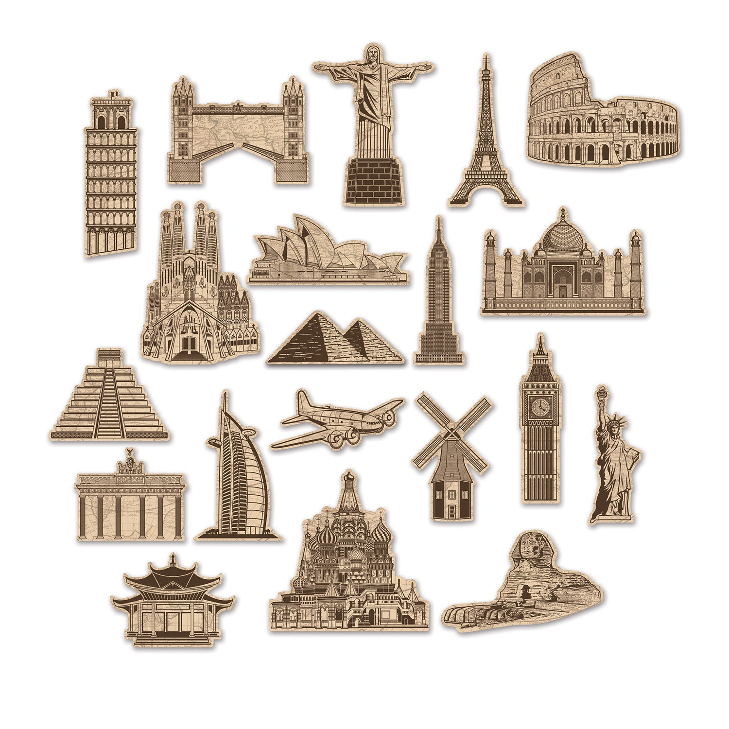 Around The World Cardboard Cutouts 20pk