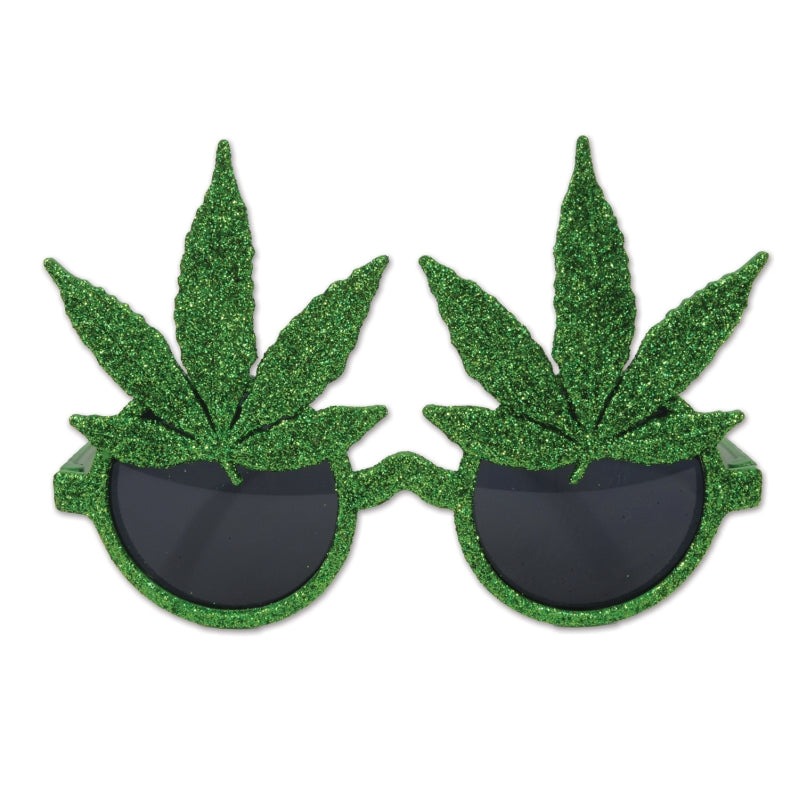Glittered Weed Glasses Each - Party Savers