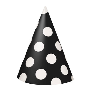 Black Dotty Party Hats 8pk