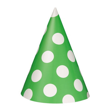 Lime Green Dotty Party Hats 8pk