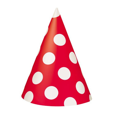 Red Dotty Party Hats 8pk