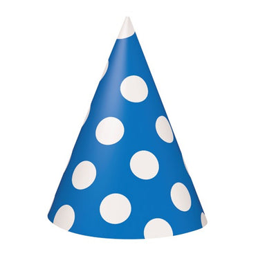 Royal Blue Dotty Party Hats 8pk