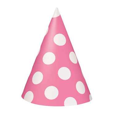 Bright Pink Dotty Party Hats 8pk