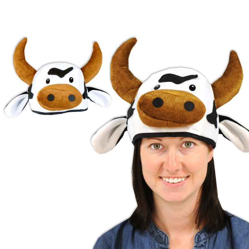 Plush Cow Head-Hat Each - Party Savers