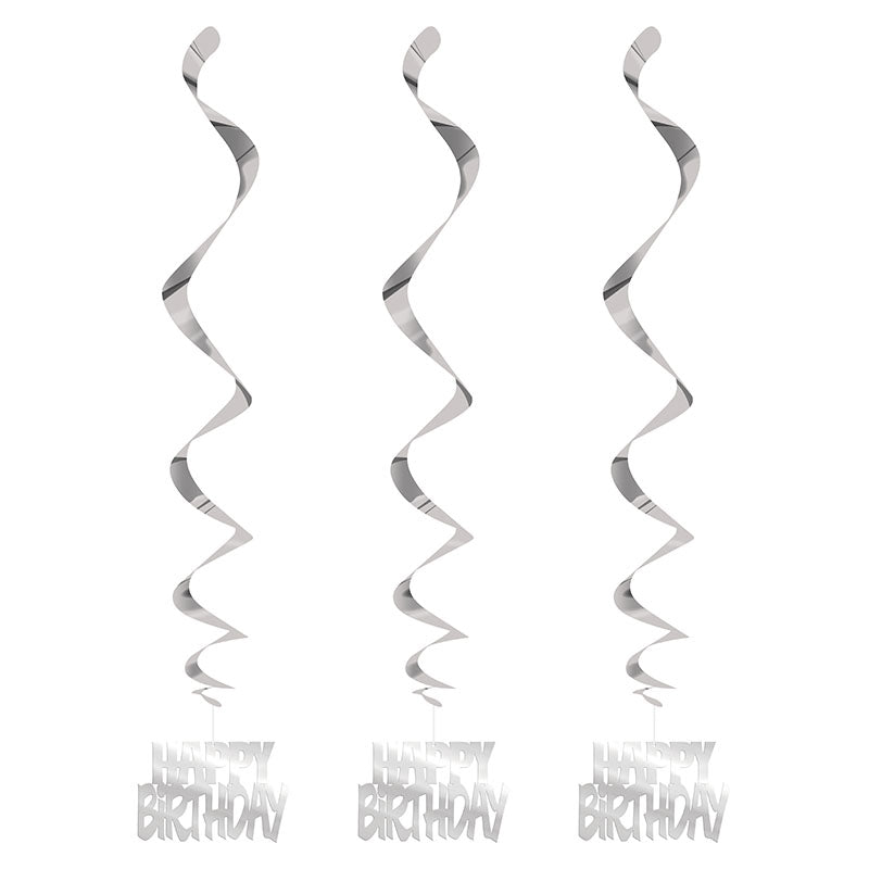Silver Happy Birthday Hanging Swirls 3pk - Party Savers