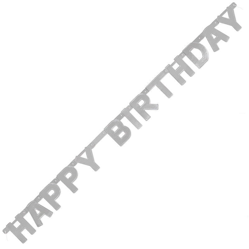 Siver Happy Birthday Jointed Banner Deluxe 1.21m - Party Savers