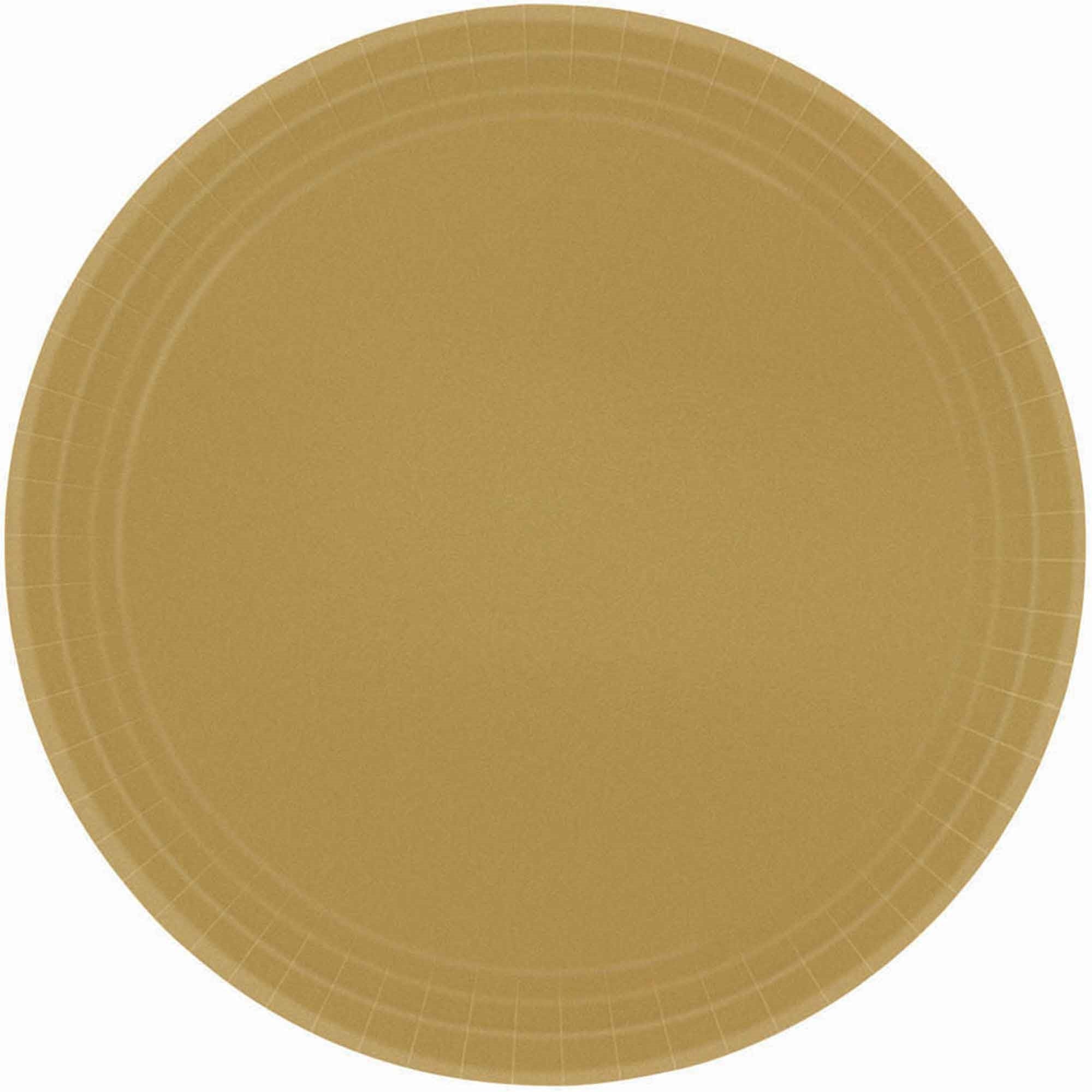 Gold Round Paper Plates 17cm 20pk - Party Savers