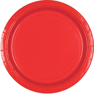 Apple Red Round Paper Plates 23cm 20pk