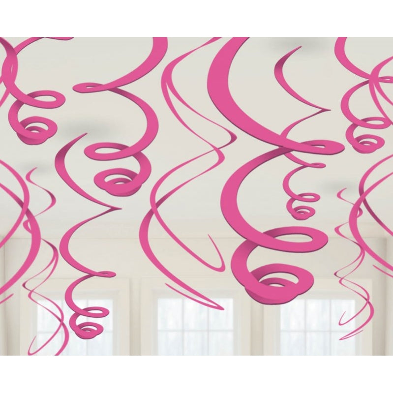 Bright Pink Plastic Swirl Decorations 56cm 12pk - Party Savers