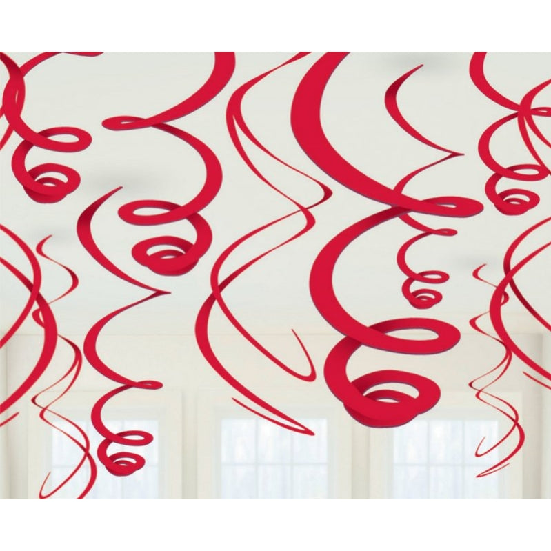 Apple Red Plastic Swirl Decorations 56cm 12pk - Party Savers