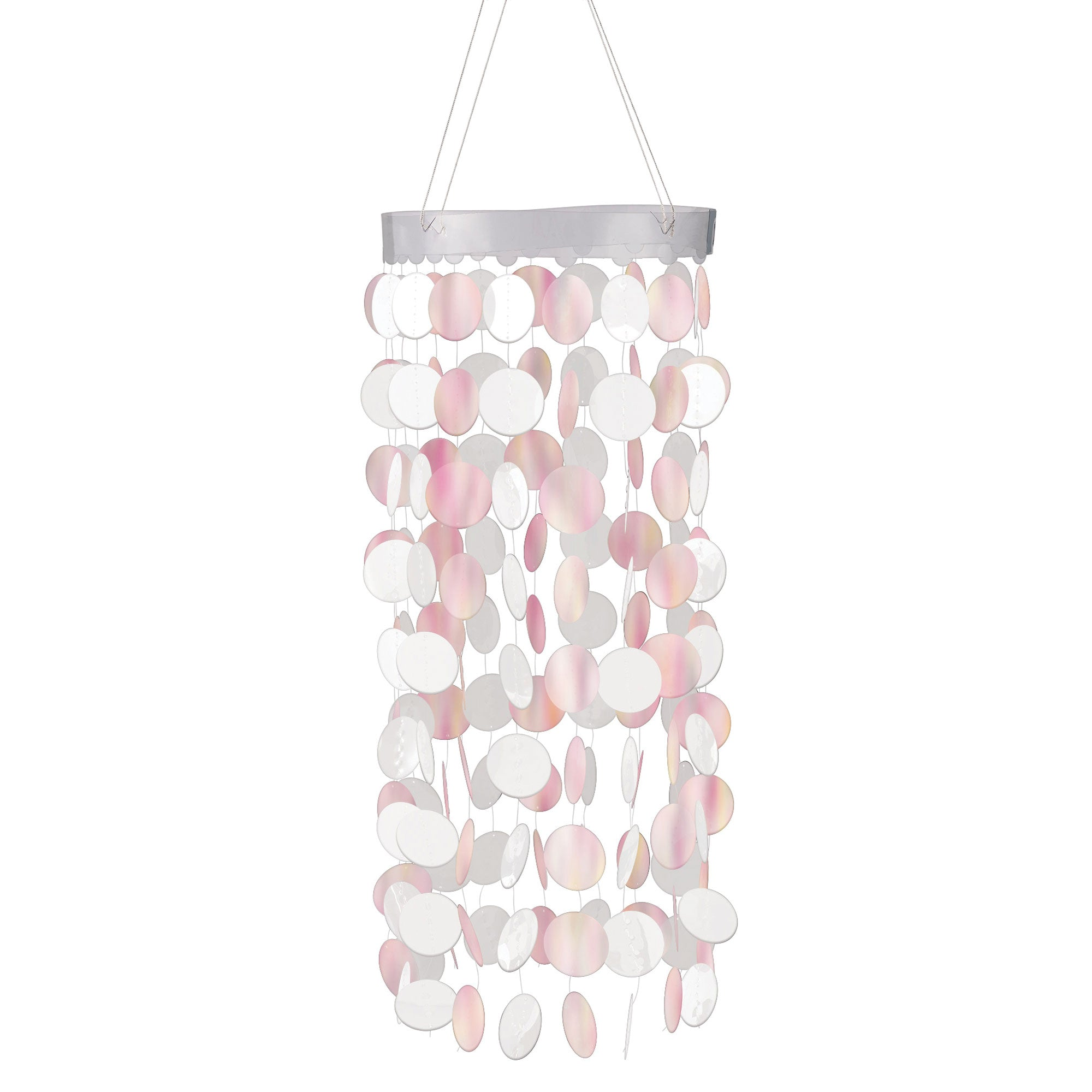 Hanging Chandelier Decoration White Iridescent Circles - Party Savers