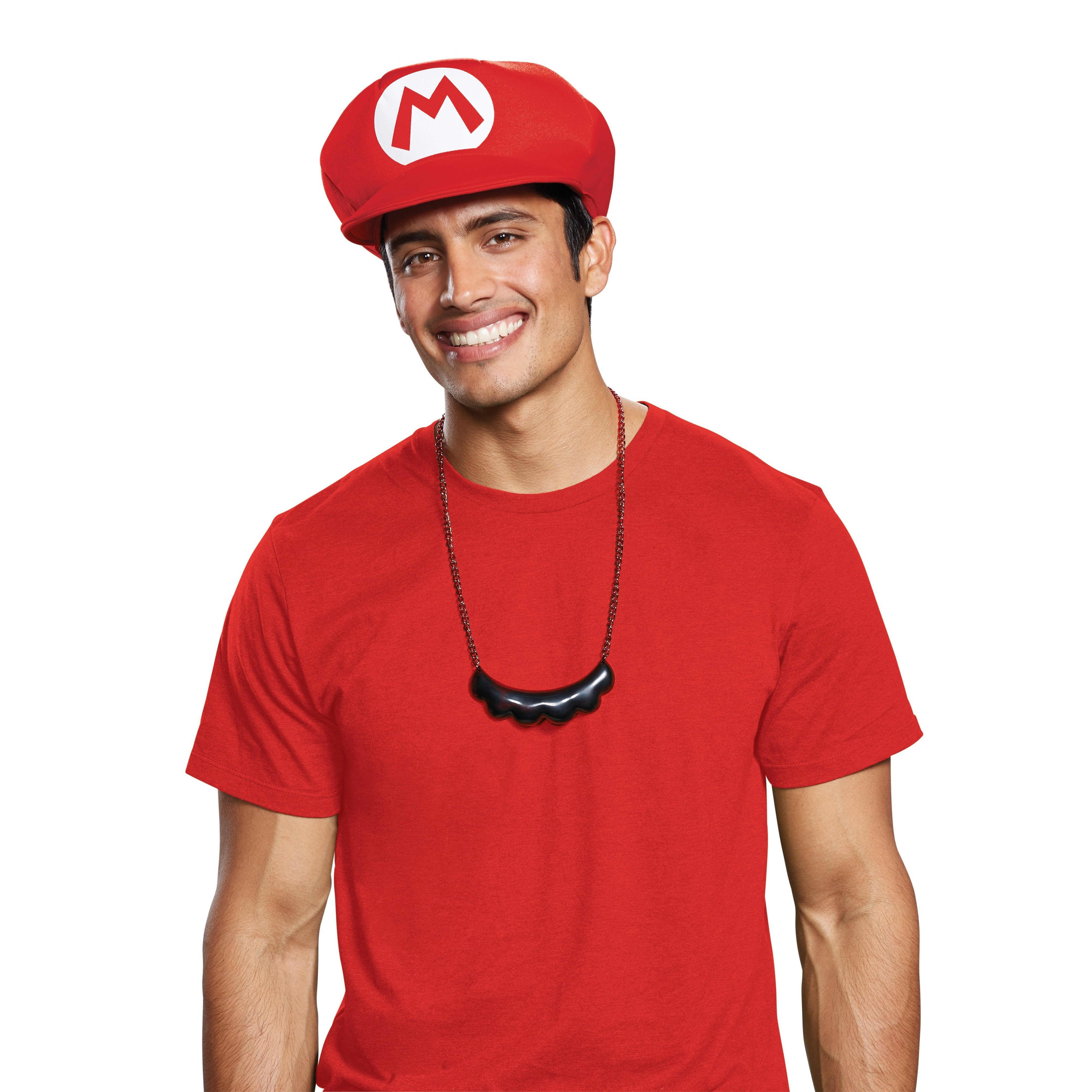 Mario Hat and Moustache Necklace Adult - Party Savers