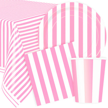 Pastel Pink Stripes Party Pack For 8