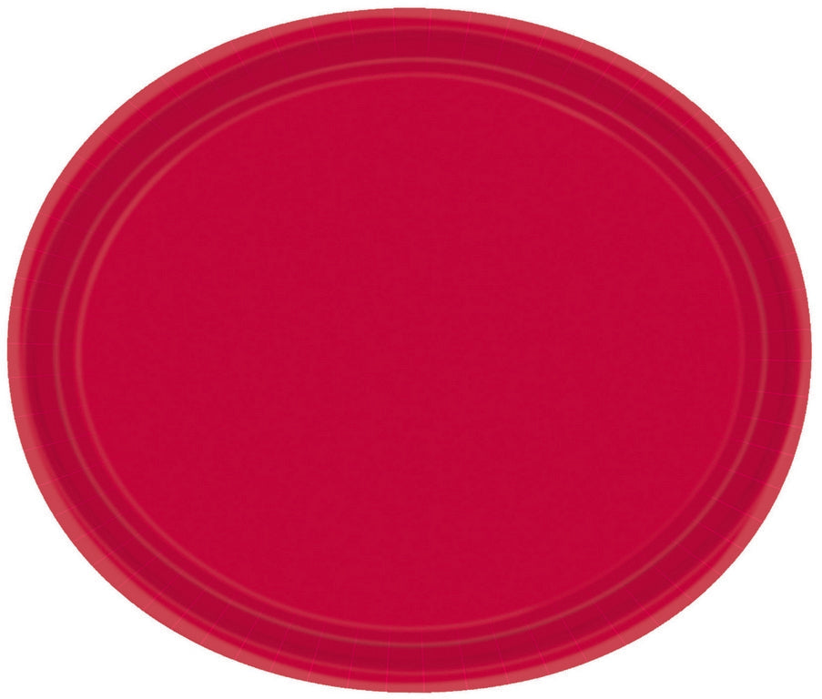 Apple Red Oval Paper Plates 30cm 20pk - Party Savers