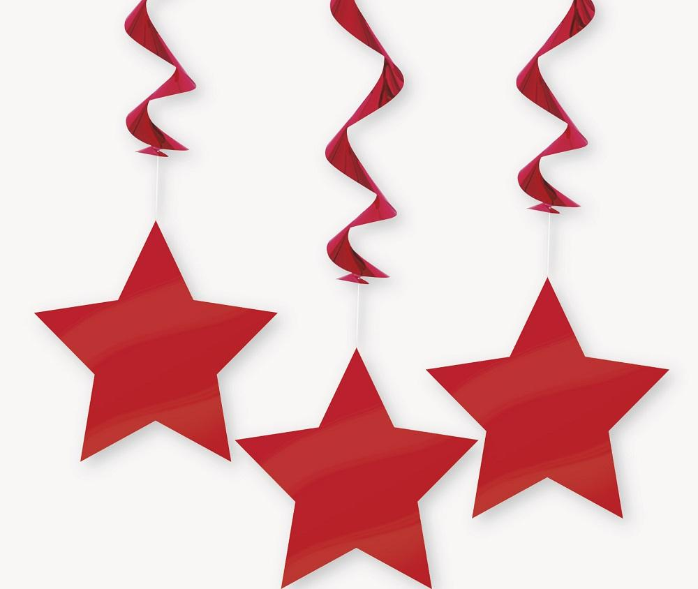Red Star Hanging Swirl Decorations 90cm 3pk
