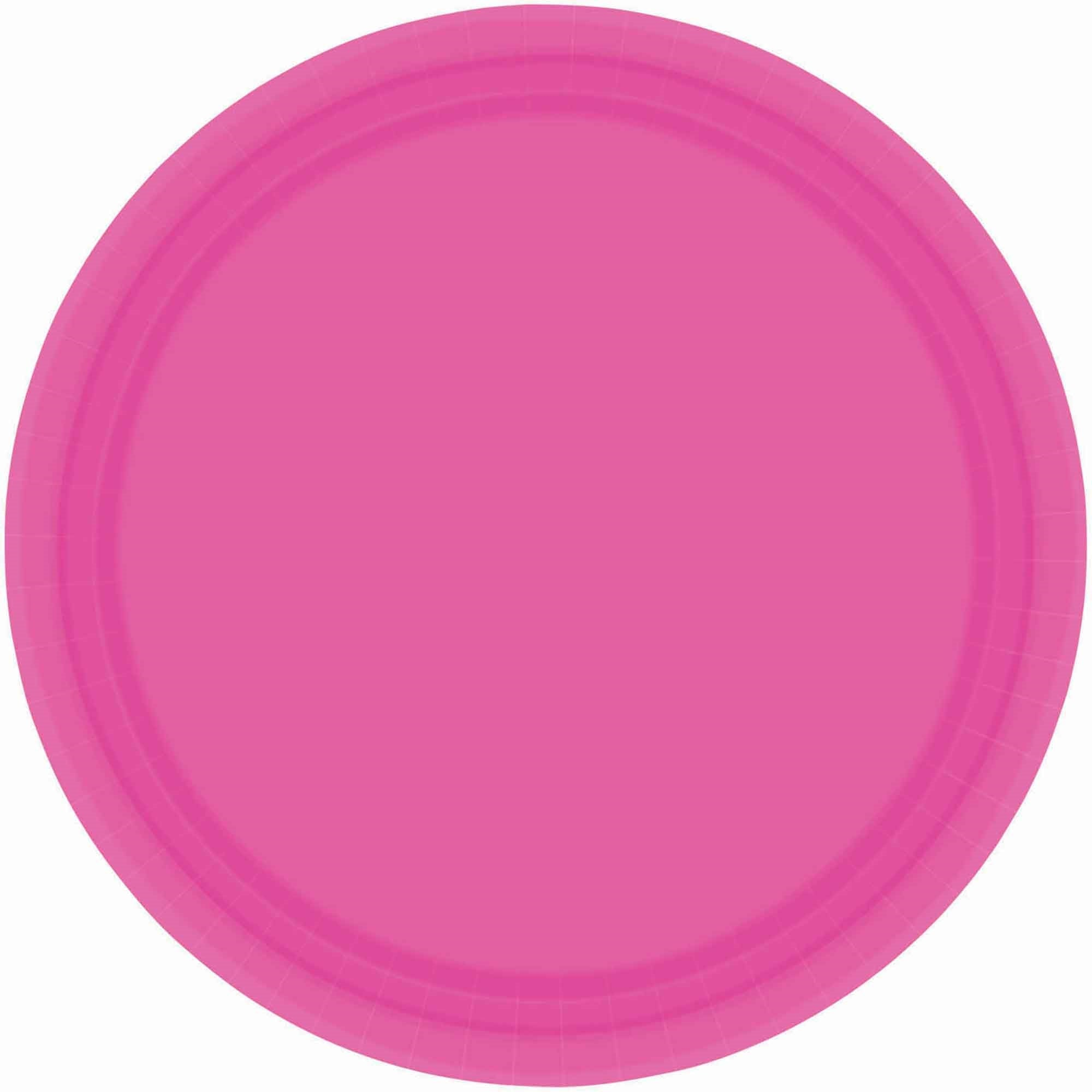 Bright Pink Round Paper Plates 26cm 20pk - Party Savers