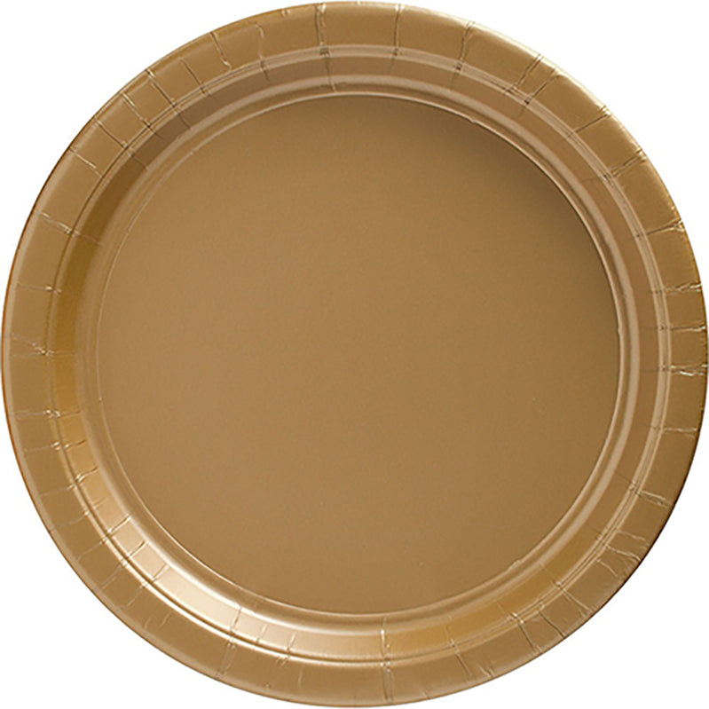 Gold Round Paper Plates 26cm 20pk - Party Savers