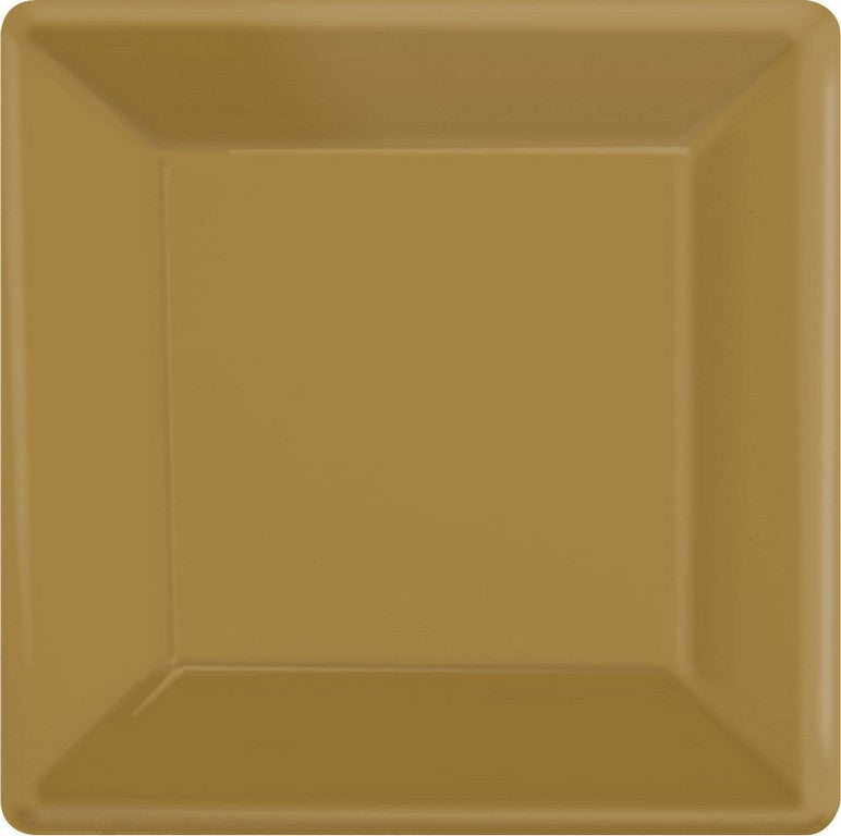 Gold Square Paper Plates 26cm 20pk - Party Savers