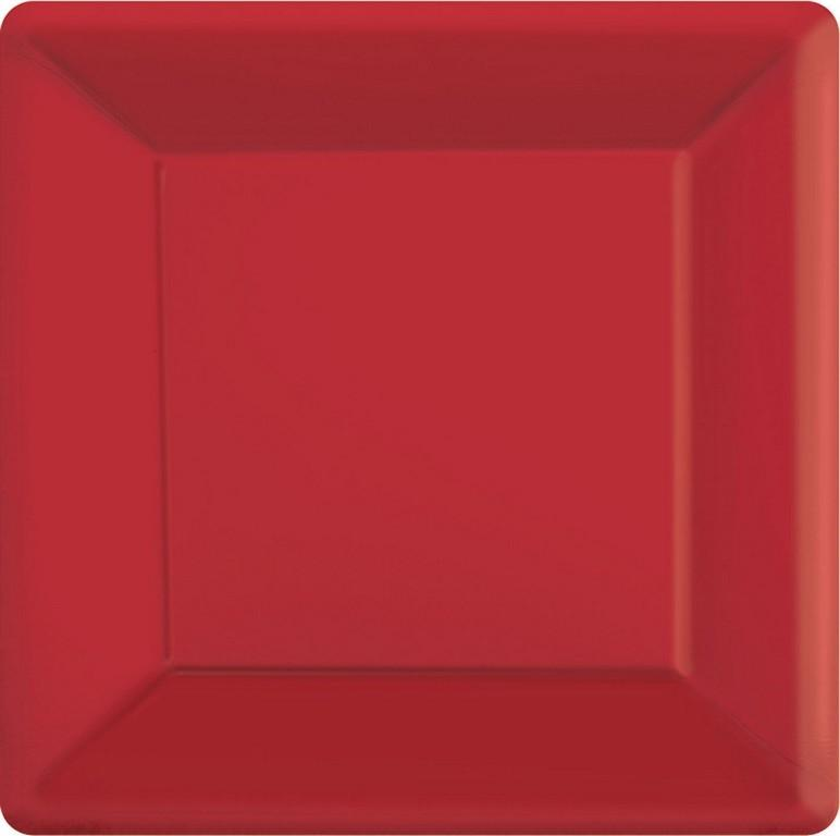 Apple Red Square Paper Plates 26cm 20pk