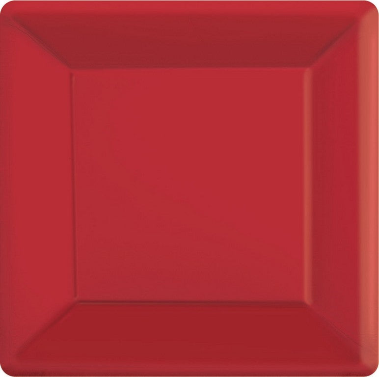 Apple Red Square Paper Plates 26cm 20pk - Party Savers