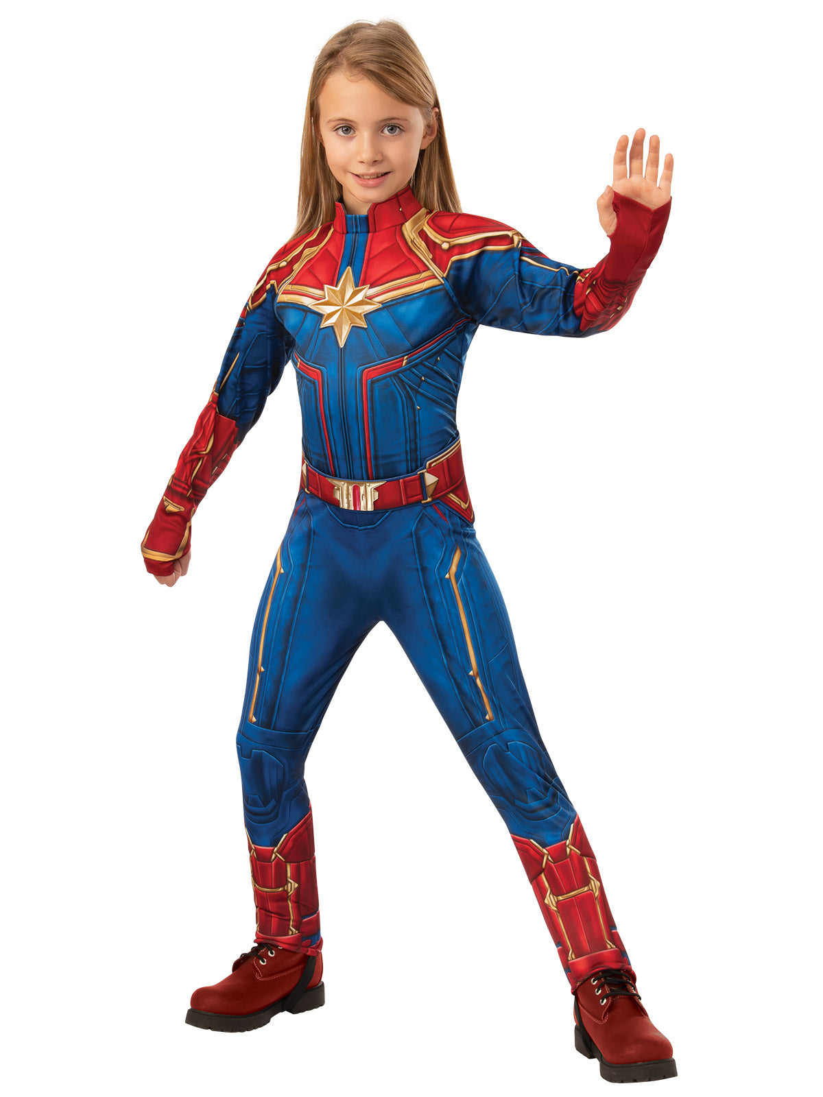 Girls Costume - Captain Marvel Deluxe Hero Suit - Party Savers