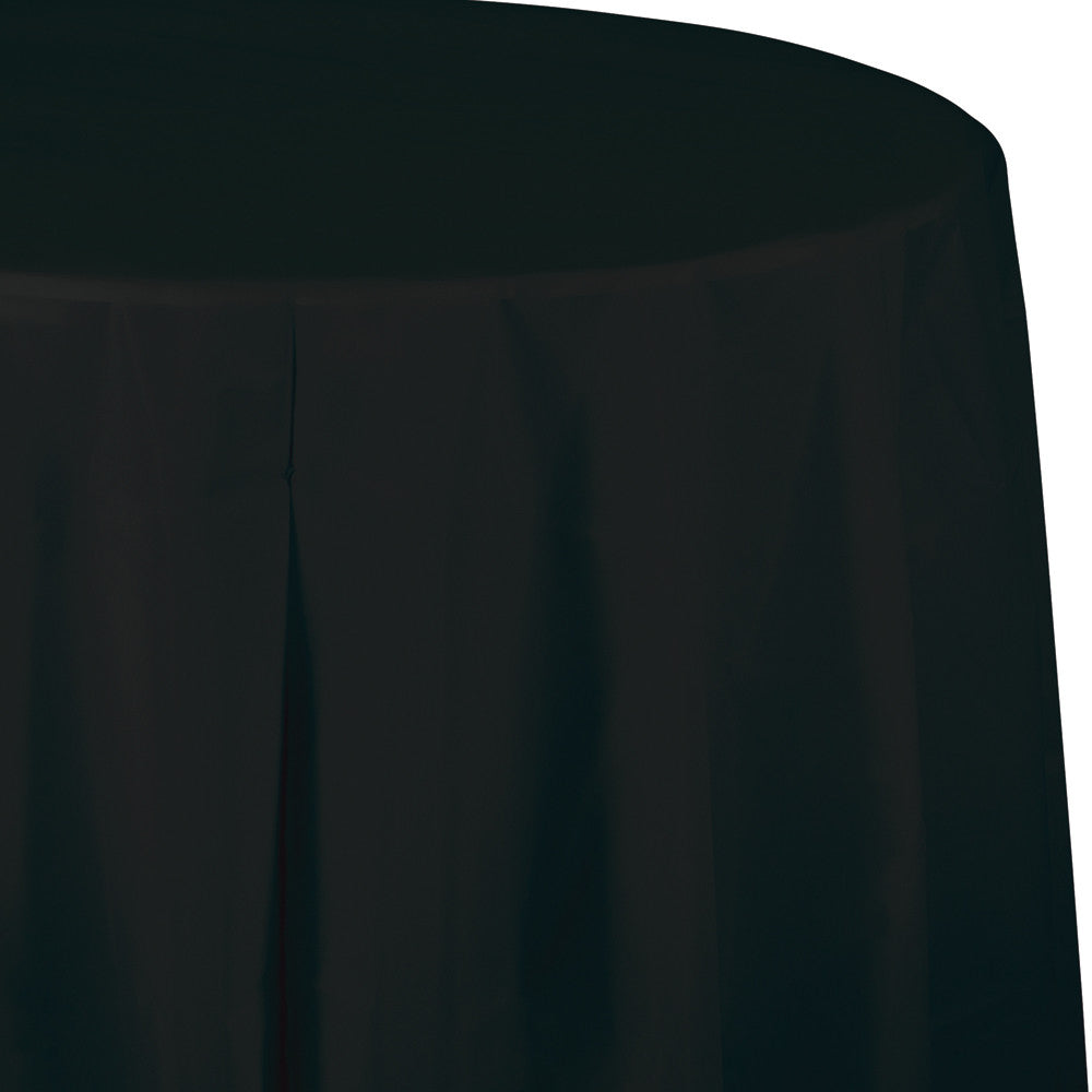 Black Plastic Round Tablecover 213cm