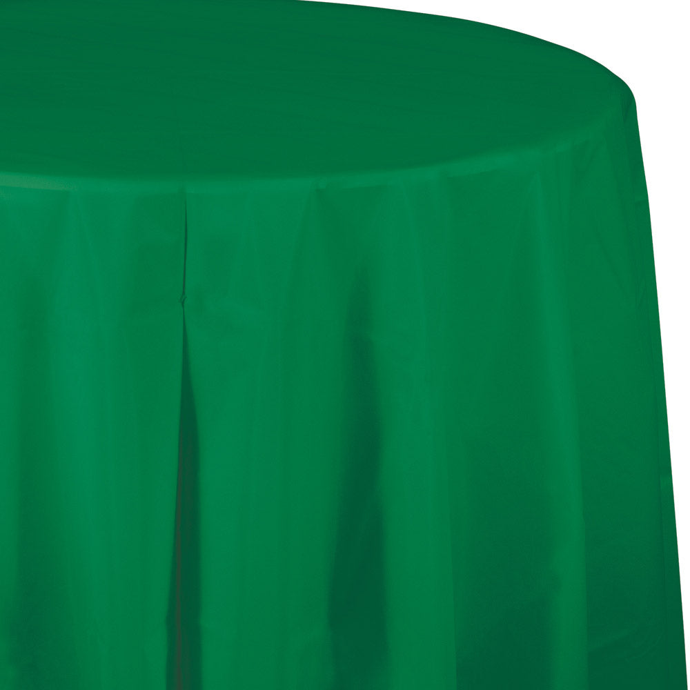 Green Plastic Round Tablecover 213cm - Party Savers
