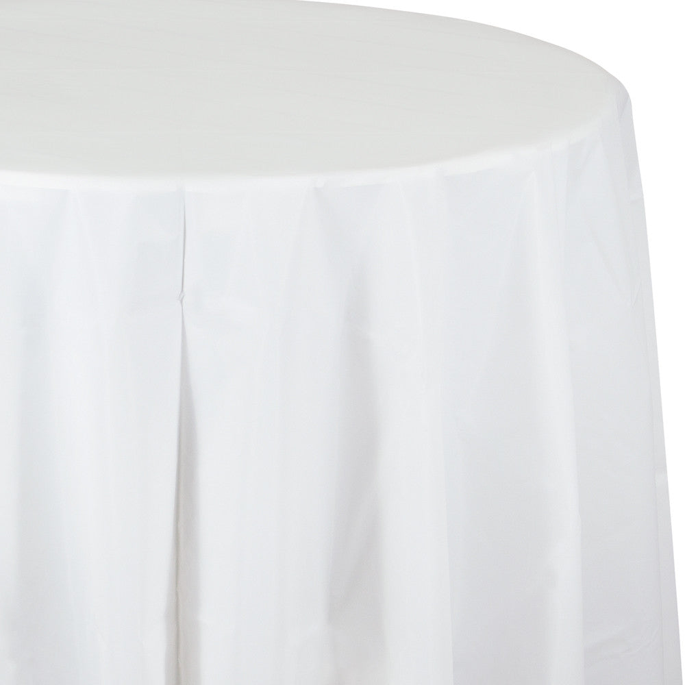 Caribbean Blue Plastic Round Tablecover 213cm - Party Savers